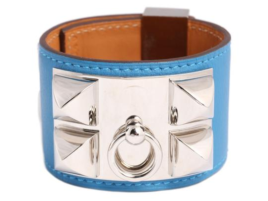 Preload https://img-static.tradesy.com/item/24271292/hermes-blue-mykonos-swift-leather-collier-de-chien-cdc-bracelet-0-0-540-540.jpg