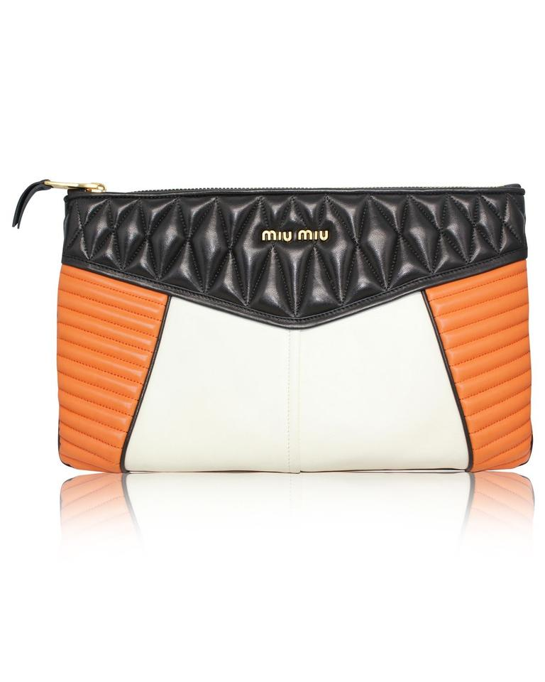 3b46ceee6786 Miu Miu Quilted Black  White  Orange Leather Clutch - Tradesy