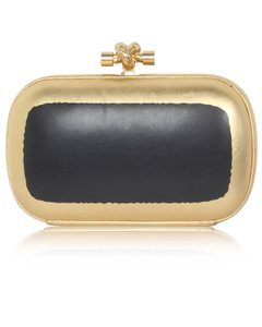 Bottega Veneta Gold; Black Clutch