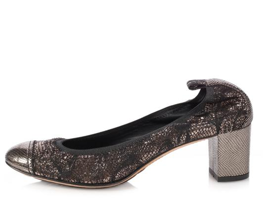 Chanel Ch.p0926.16 Shimmery Cap Toe Leather Ballerina Gold Pumps