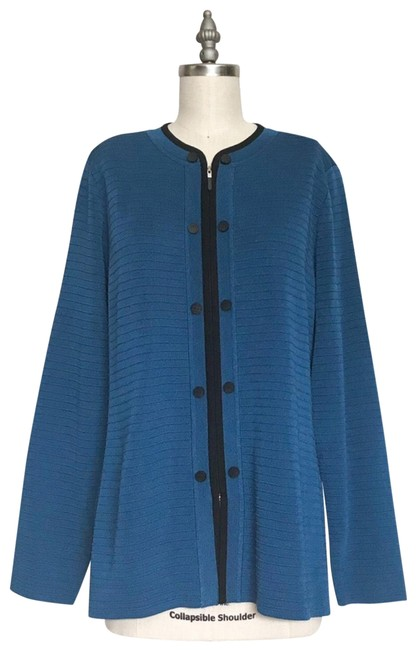 Preload https://img-static.tradesy.com/item/24271363/misook-black-blue-acrylic-ribbed-knit-cardigan-blazer-size-8-m-0-3-650-650.jpg