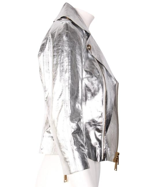 Dsquared2 Silver Leather Jacket