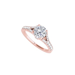 DesignerByVeronica Split Shank Ring in 14K Rose Gold with Cubic Zirconia