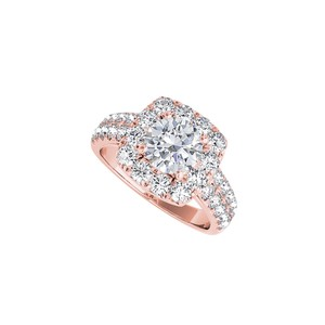 DesignerByVeronica Rose Gold Halo Engagement Ring with Cubic Zirconia