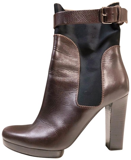 Preload https://img-static.tradesy.com/item/24271576/lanvin-brown-black-chocolate-leather-zip-up-ankle-strap-nylon-395-9-bootsbooties-size-us-95-regular-0-3-540-540.jpg