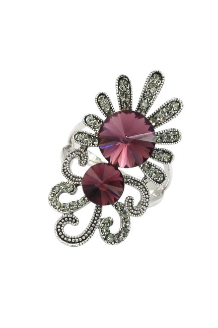 Item - Red Noble Crystal Silver Ring
