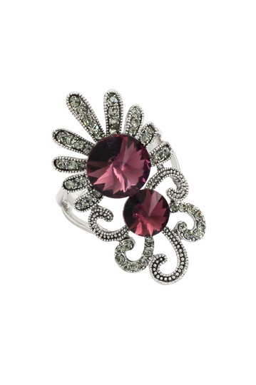 Ocean Fashion Noble red crystal silver ring