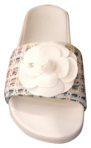 Chanel White/ multi Flats
