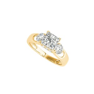 DesignerByVeronica Yellow Gold Cubic Zirconia Three Stones Ring For Her