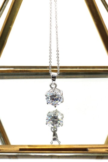 Ocean Fashion Single crystal sterling silver necklace