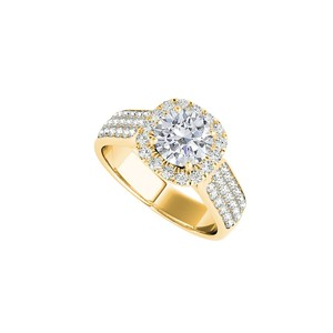 DesignerByVeronica Halo Yellow Gold Ring with CZ Rows in 14K Yellow Gold