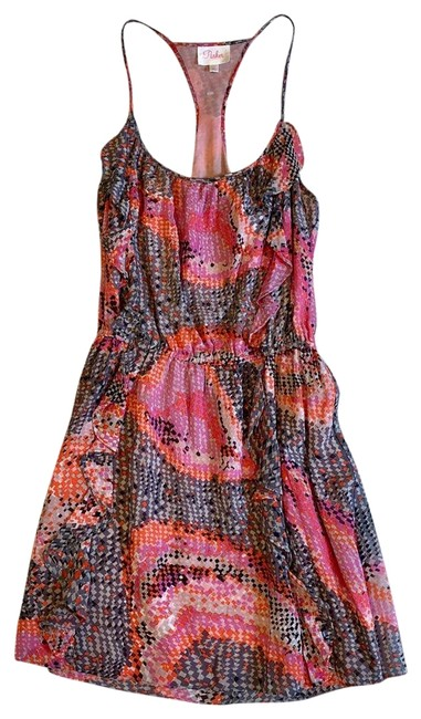 Preload https://img-static.tradesy.com/item/24271642/parker-pink-orange-metallic-ruffle-short-cocktail-dress-size-2-xs-0-3-650-650.jpg