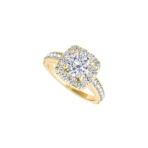 DesignerByVeronica Halo Cubic Zirconia Engagement Ring in 14K Yellow Gold