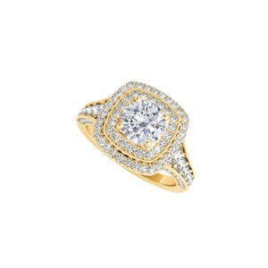 DesignerByVeronica Halo Ring with Cubic Zirconia in 14K Yellow Gold