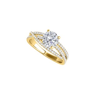 DesignerByVeronica Criss Cross Engagement Ring in 14K Yellow Gold with CZ