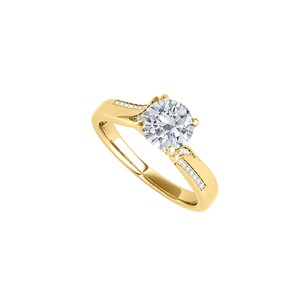 DesignerByVeronica Cubic Zirconia Yellow Gold Engagement Ring 1.25 CT TGW