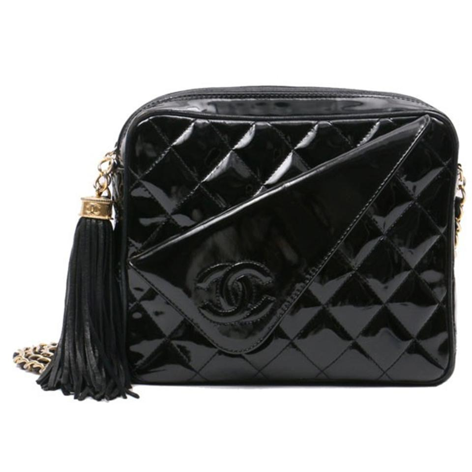 a94fb8f67092 Chanel Classic Flap Vintage Quilted Cc Black Patent Leather Shoulder ...