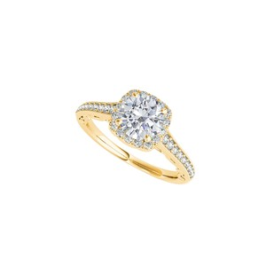DesignerByVeronica Halo Engagement Ring in 14K Yellow Gold 1.50 CT TGW
