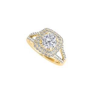 DesignerByVeronica CZ Split Shank Halo Engagement Ring in 14K Yellow Gold