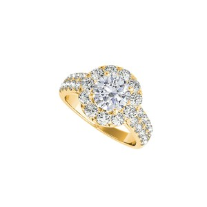 DesignerByVeronica Cubic Zirconia Halo Engagement Ring in 14K Yellow Gold