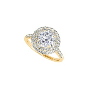 DesignerByVeronica Halo Yellow gold Engagement Ring with Cubic Zirconia