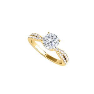 DesignerByVeronica Cubic Zirconia Criss Cross Ring in 14K Yellow Gold
