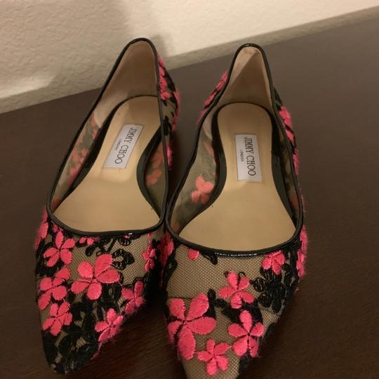 Jimmy Choo Embroidered Pink Lace Floral Flats