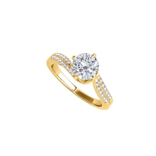 DesignerByVeronica Cubic Zirconia Semi Swirl Ring in 14K Yellow Gold