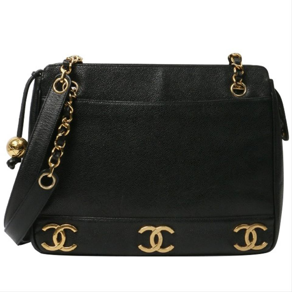 60fb0221d601 Chanel Shopping Vintage Cc Gold Plated Motifs Black Caviar Leather ...