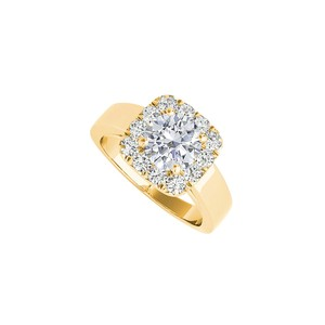 DesignerByVeronica Yellow Gold Halo Engagement Ring with Cubic Zirconia