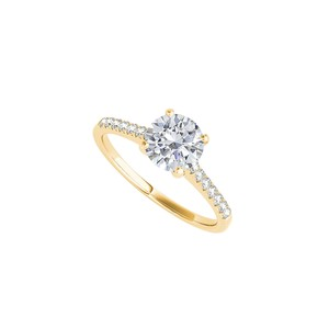 DesignerByVeronica Cubic Zirconia Engagement Ring in 14K Yellow Gold