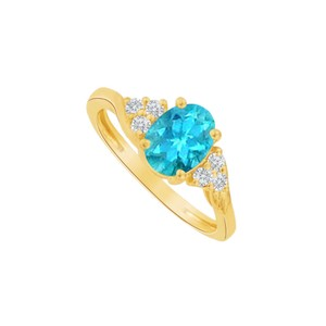 DesignerByVeronica Blue Topaz and CZ Oval Ring in 18K Yellow Gold Vermeil