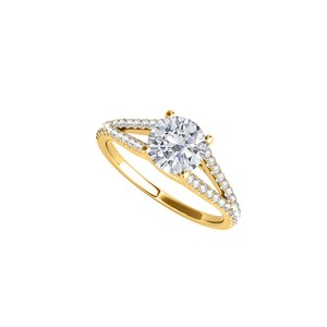 DesignerByVeronica Yellow Gold Split Shank Ring with CZ Rows 1.25 CT TGW