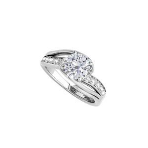 DesignerByVeronica White Gold Split Shank Ring with Cubic Zirconia