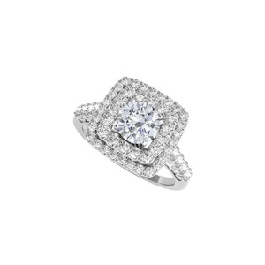 DesignerByVeronica Halo Ring with Cubic Zirconia in 14K White Gold