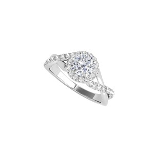 DesignerByVeronica Beautiful CZ Criss Cross Halo Ring in 14K White Gold