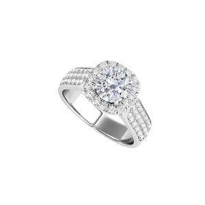 DesignerByVeronica 14K White Gold CZ Halo Ring with Three Rows CZ Accents