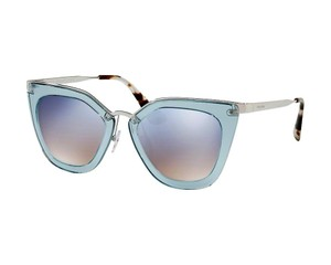 Prada NEW Prada Cinema SPR 53S Blue Mirrored Cat Eye Sunglasses