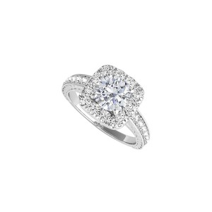 DesignerByVeronica Pretty Cubic Zirconia Halo Ring in 14K White Gold