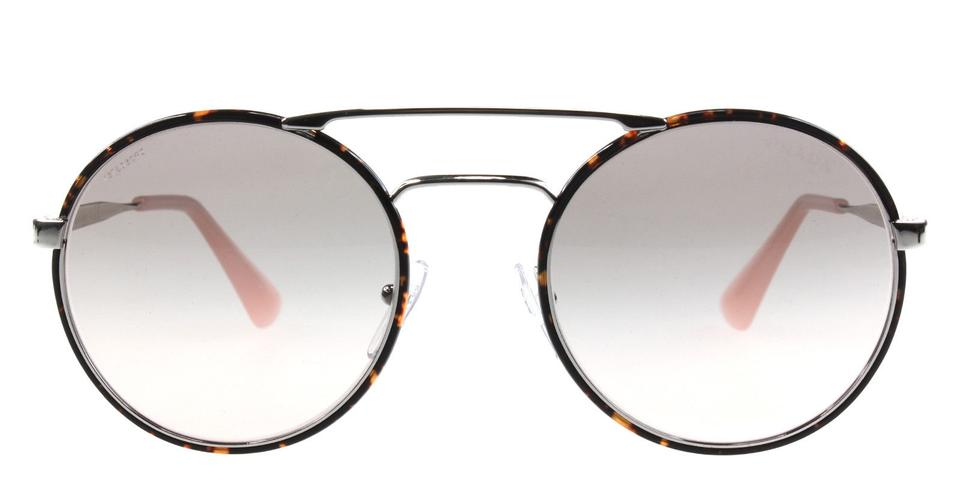 75a48af80400 Prada Brown Double New Spr 51s Cinema Round Bridge Oversized Sunglasses