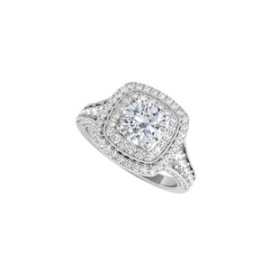 DesignerByVeronica Lovely Cubic Zirconia Halo Ring in 14K White Gold
