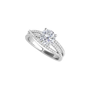 DesignerByVeronica Cubic Zirconia Criss Cross Shank Ring in 14K White Gold