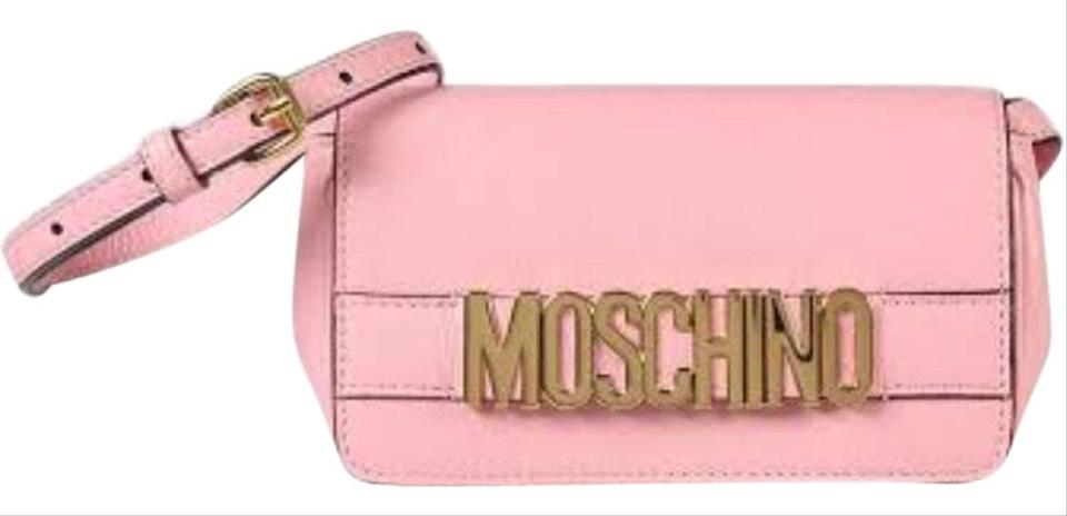 a0be97a39 Moschino Logo Dusty Rose Pink Leather Cross Body Bag - Tradesy