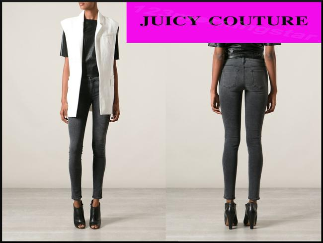 Juicy Couture Studded Pockets Silvertone Hardware Signature Fit 5-pocket Skinny Jeans-Dark Rinse