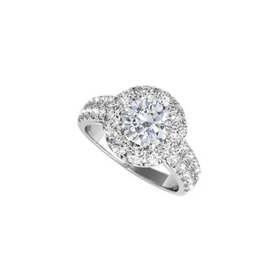 DesignerByVeronica Fab CZ Halo Ring in 14K White Gold for Engagement
