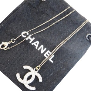 Chanel CHANEL CC Rhinestone Chain Necklace Silver Plated France
