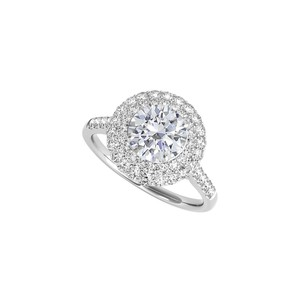 DesignerByVeronica Halo Engagement Ring in 14K White Gold with CZ