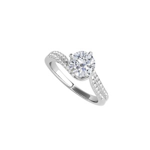 DesignerByVeronica Cubic Zirconia Engagement Ring in 14K White Gold
