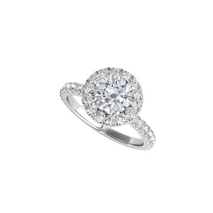 DesignerByVeronica Cubic Zirconia Halo Engagement Ring in 14K White Gold