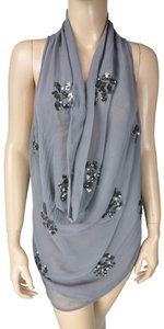 Greylin Sequin Waterfall Floral Top Gray